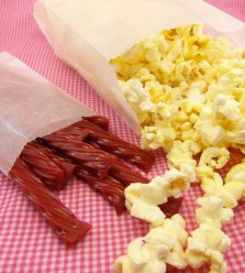 Red Licorice and popcorn/image: greenmunch.ca