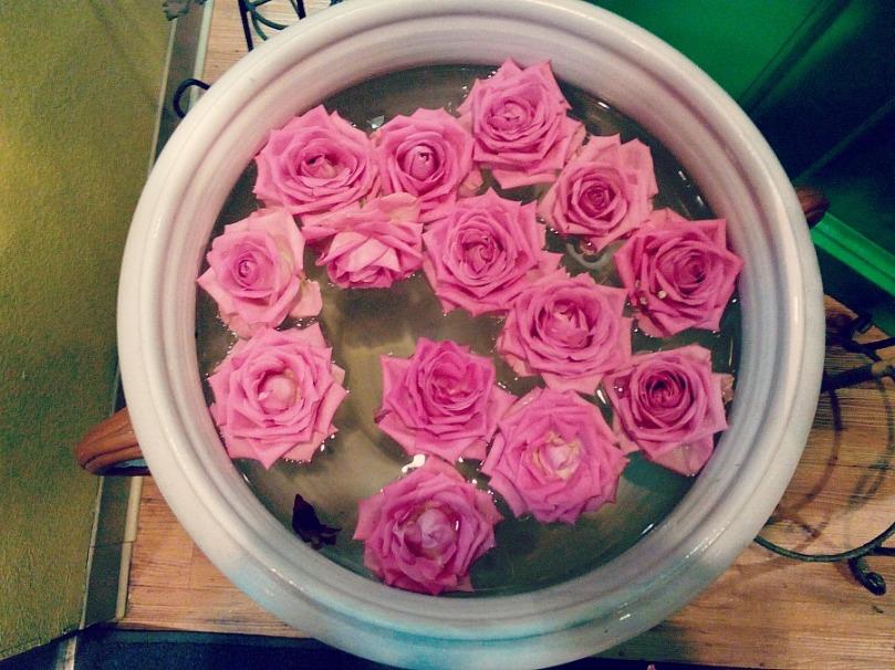 Thai restaurant floating roses.